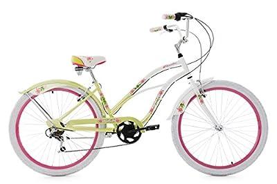 "Ladies' Beach Cruiser 26"" Paradiso White-Green 6 Gears KS Cycling"