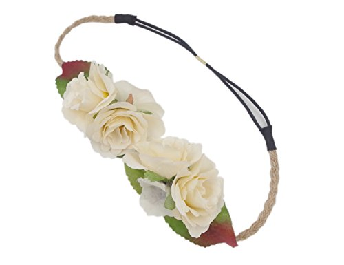 Love Sweety Women Rose Floral Crown Flower Headband for Wedding Festival (Ivory)