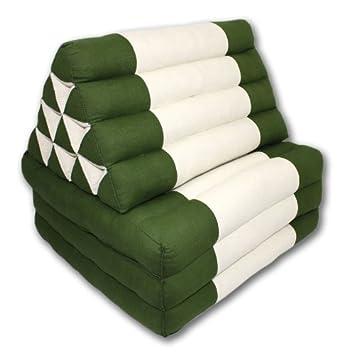 Cojin tailandes: tejido de lino de algodon verde y crema estandar cojin tailandes triple