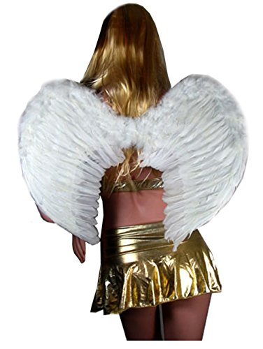 SACAS Large White Feather Angel Wings w/ Free Halo for women, men or adults