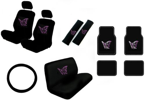 15 Piece Auto Interior Gift Set - Multiple Purple Butterflies - A Set Of 2 Seat Covers, 1 Rear Bench Cover, 1 Steering Wheel, A Set Of 2 Seat Belt Pads, And A Set Of 4 Plush Carpet Floor Mats front-280665