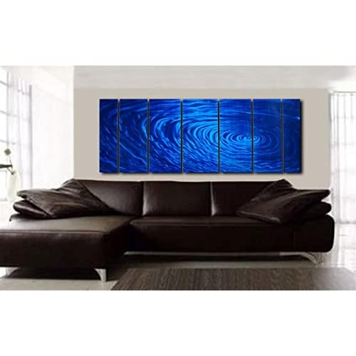 Cobalt Ripple Modern Abstract Metal Wall Art Painting Decor By: Jon Allen Blue Metal Wall Artwork