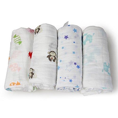 InnooBaby Manta Envolvente Muselinas Bebé Unisexo 4 Pack 100% Algodón Natural Dibujos Estampados de Animalitos Colores 120CM*120CM Súper Grande y Cómoda