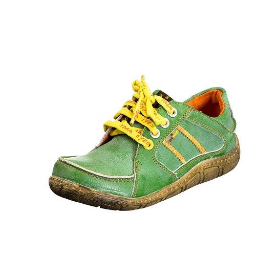 TMA EYES 1458 Schnürer Gr.36-42 mit bequemen perforiertem Fußbett , Leder 39.35 super leichter Schuh der neuen Saison. ATMUNGSAKTIV in Grün Gr. 36
