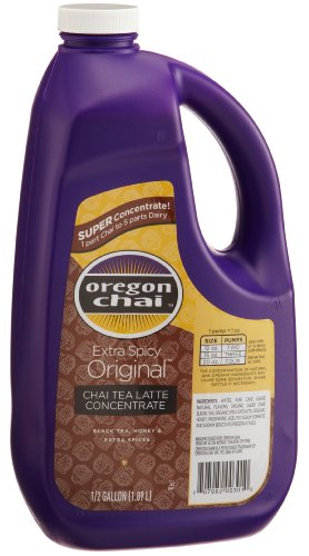 Oregon Chai, Chai Tea Latte Concentrate, Extra Spicy Original, 64-Ounce Jugs (Pack of 4)