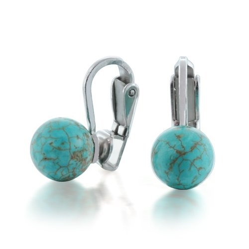 Bling Jewelry Sterling Silver Turquoise Bead Clip On Earrings