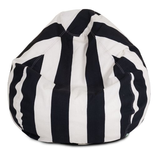 Majestic Home Goods Vertical Stripe Bean Bag, Small, Black front-317243