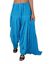 Stylenmart Ferozi Blue Semi Patiala Salwar With Dupatta For Women