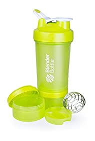 BlenderBottle ProStak System with 22-Ounce Bottle and Twist n' Lock Storage, Green/Green