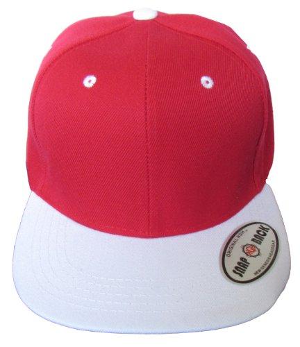 4d1af0e05a5d5 NGH Premium Plain Two-Tone Flat Bill Snapback Hat - Baseball Cap (Red White)