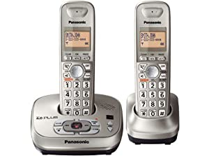 Panasonic KX-TG4022N DECT 6.0 PLUS Expandable Digital Cordless Phone with Answering System, Champagne Gold, 2 Handsets