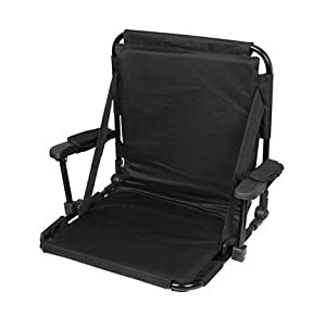Trademark Innovations Stadium Chair with Under Seat Hooks and Padding, Black