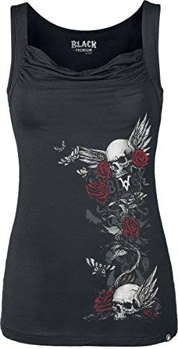 Black Premium by EMP Arising Skull Top donna bianco XS