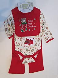 Baby Gear Baby's First Christmas 4-piece Set Size 6-9 Months Red (3-6, Red/ Bears)