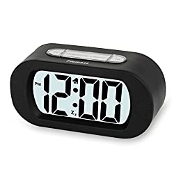 Plumeet Easy Setting LCD Travel Alarm Clock with Silicone Protective Cover,Large Digital Number Display,Snooze Good Backlight Function 3* AAA Batteries Powered Needed (Black)