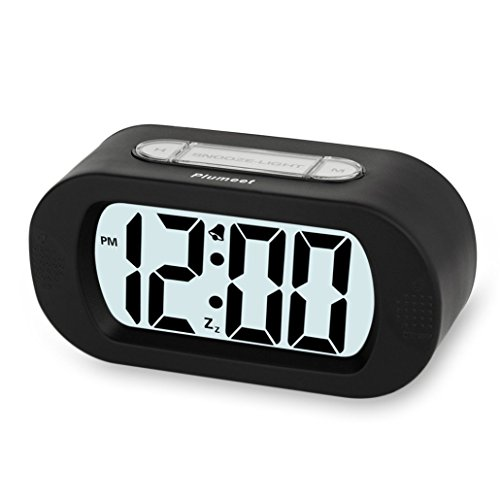 Plumeet Digital Large LCD Easy Setting Travel Alarm Clock with Snooze Good Backlight of 3 AAA Batteries Powered(Black) (Small Battery Clocks compare prices)