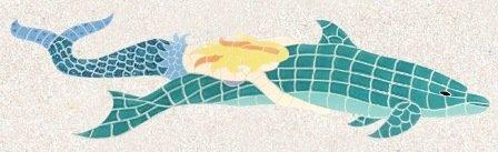 Ceramic Mermaid Riding Dolphin Mosaic