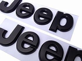2PCSu00d7 Flat Matte Black JEEP Emblem Logo Stickers Cherokee Wrangler Unlimited