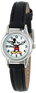 Disney Mickey Mouse Women's MCK655 Moving Arms Black Strap Easy Read Watch