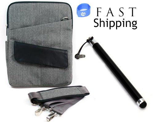 "Kindle Fire HD 7"" Case Canvas Travel Messenger Bag / Loose Fit with Tablet Stylus Pen Included + EnvyDeal Velcro Cord Tie (Grey)"