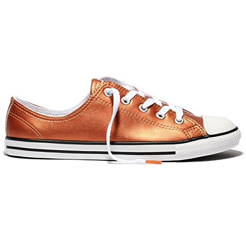 Converse CT All Star Dainty Metallic Leather Fashion Sneakers, Blush Gold/Black/White, 7.5 Women