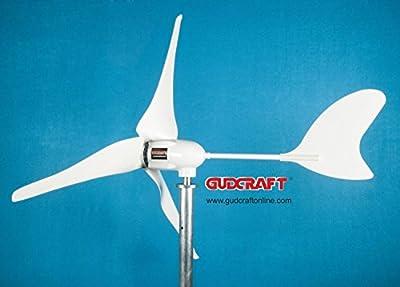 GudCraft WG600 600 Watt 12 Volt 3 Blade Residential Wind Turbine Generator Kit with FREE Charge Controller