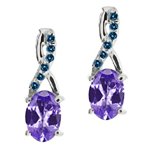 0.97 Ct Oval Blue Tanzanite and Blue Diamond 18k White Gold Earrings