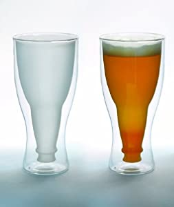 Hopside Down Beer Glass, Double Wall Beer Glass - FROSTED by Lily's Home