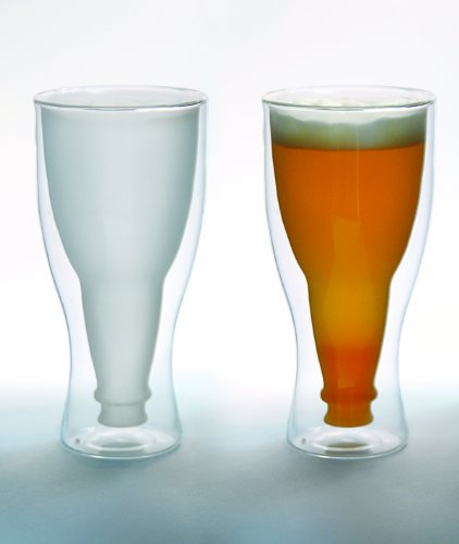 Hopside Down Beer Glass, Double Wall Beer Glass - FROSTED. Single