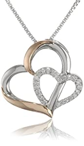 XPY 14k Rose Gold and Sterling Silver Double Heart Pendant Necklace, 18