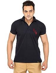 Polo Collar T Shirt For Mens_Half Sleeve _Navy Blue_unbuttoned_Short Arm Fit_100% Cotton Mattie Finish