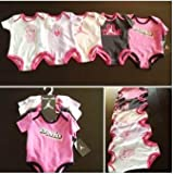 Nike Jordan Infant New Born Baby Girl Lap Shoulder Bodysuit 5 PCS with Different Color and &quot;Jordan&quot; Sign Pattern (0-3, 3-6, 6-9, 9-12 Months) NEW (MSRP $60) (0-3 MONTHS)