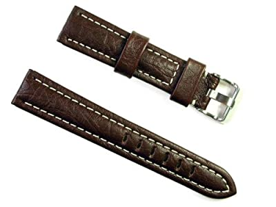 BANDA WYOMING BUFFALO LEATHER CHRONOGRAPH SPORT PANERAI BREITLING WATCH BAND STYLE DESIGN-REAL ITALIAN CALF LEATHER-24 mm BROWN COLOR