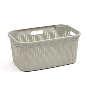 curver laundry basket rattan 45 ltr cream amazon co uk