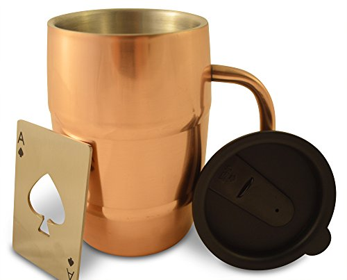 Insulated Stainless Steel Copper Plated Coffee or Beer Mug By Polar Mugs (Bonus Lid & Stylish Bottle Opener Included): Double Wall Air Insulated 16.9 Oz. Mug That Keeps Beer Cold and Coffee Hot