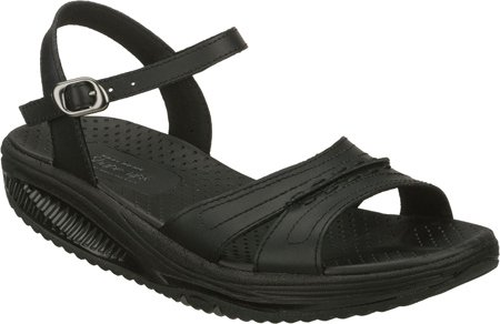 Skechers Women's Shape-ups Point Five Jamaica Fab Fit Sandals,Black,7 M US