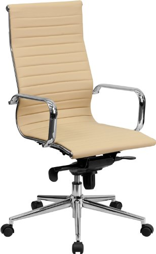 Flash Furniture High Back Ribbed Upholstered Leather Executive Office Chair, Tan