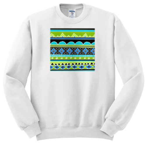 Ss_112830_5 Inspirationzstore Tribal Patterns - Neon Tribal Pattern - Fluorescent Green Yellow Electric Blue Black - Aztec Shapes Patterned Rows Art - Sweatshirts - Adult Sweatshirt 2Xl