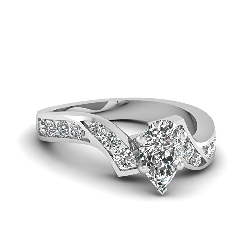 Fascinating Diamonds 1.35 Ct Pear Shaped Flawless Diamond Zig Zag Engagement Ring Channel Set Gia