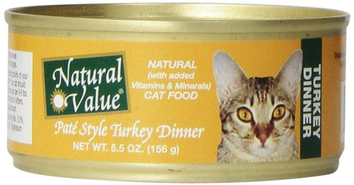 Natural Value Pate Style Turkey Dinner Cat Food, 5.5 Ounce Cans (Pack of 24) Picture