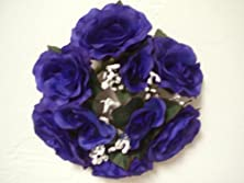 "buy Lot Of 3 Navy Blue Rose Candle Rings Silk Flower 3"" Wedding Artificial"