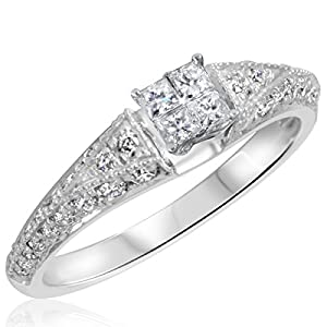 3/4 CT. T.W. Diamond Ladies Engagement Ring 10K White Gold- Size 13