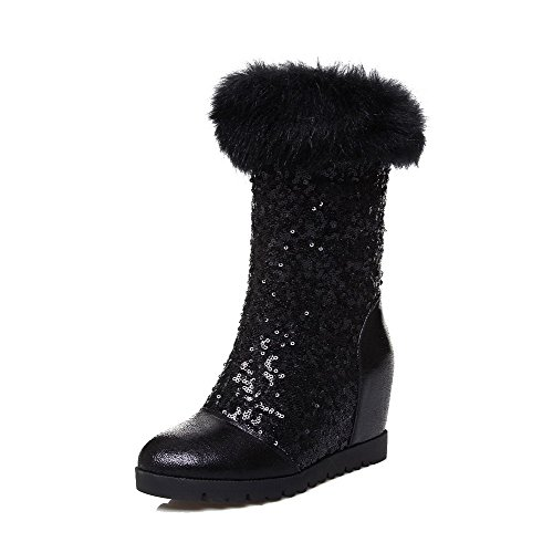 voguezone009-womens-round-closed-toe-high-heels-soft-material-low-top-boots-with-sequin-black-39