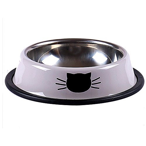 Geekercity Stainless Steel Anti-skid Pet Dog Puppy Cat Food Water Bowl Easy Taking Pet Feeding Bowls Tool Dia Feeder Bowl Dishes (Grey)