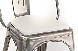 Rounded Seat Cushion for Metal Bar Stools or Kitchen Chairs, White (Chair/Stool Sold Separately)