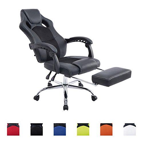 CLP Poltrona da ufficio con sedile sportivo ENERGY, poggiatesta, poggiapiedi integrato, altezza 47 - 57 cm nero