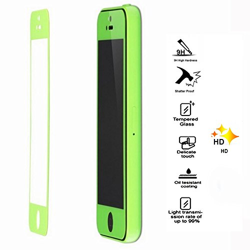 Colored Premium Tempered Glass Screen Protector for iPhone 5C 5S 5 Green