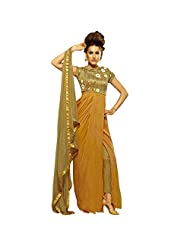 Brown And Beige Satin Chiffon And Pure Silk Embroidered Suit With Long Style