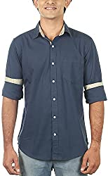 Lapilvi Men's Slim Fit Casual Shirt (lpb0002_navy blue_medium, Blue, Medium)