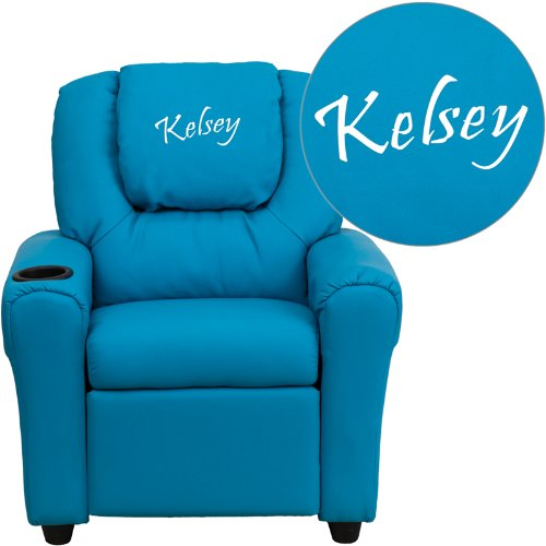 """Personalized Vinyl Kids Recliner With Cup Holder And Headrest Turquoise Green/36.5""""L x 24""""W x 27""""H"""